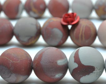 31 pcs of Australia red Picture Jasper matte round beads in 12mm