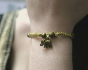 Mustard Yellow Macrame Elephant Bracelet