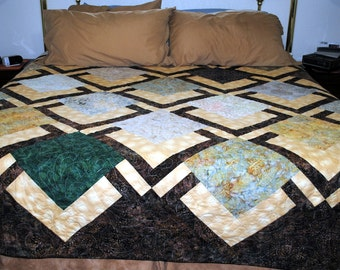 King Size Batik Quilt Handmade Earth Tones Bed Quilt