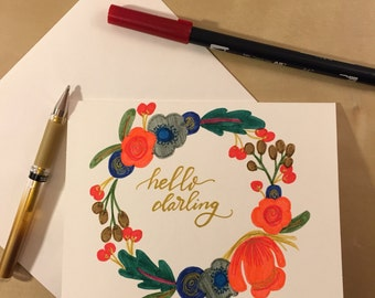 Hello Darling- Hand Lettered Card