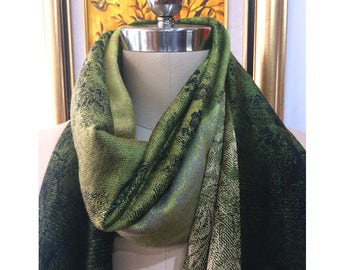 Dark Olive Green Faux Wool Scarf with Subtle Floral Pattern -Floral Polyester Scarf- Floral Printed Polyester Scarf-Long fringes Scarf- 2017