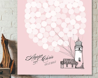 Guest Book Wedding Gift Ideas, Wedding Guest Book Alternative, Wedding Signs Custom Guest Book Sign In, Pink Guestbook Balloons Guest Book