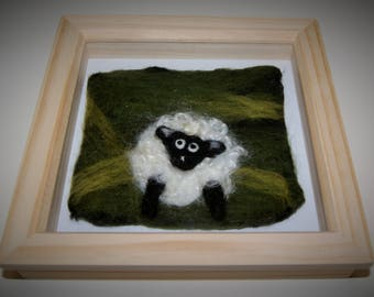 Marvin the cute sheep felt framed picture