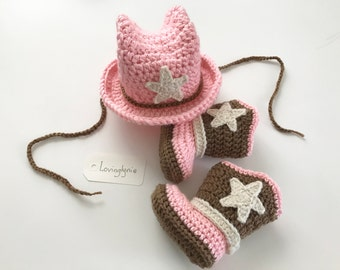 Crochet cowboy hat and boots set for baby girl / cowgirl hat / cowgirl boots / photoprop