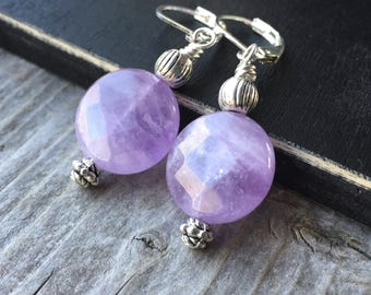 Light Amethyst Faceted Coin Earrings With Leverbacks