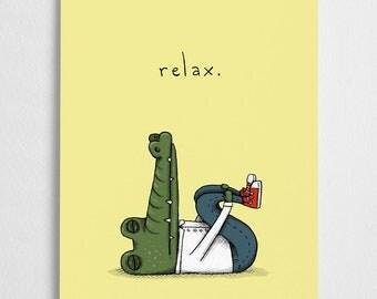 Crocodile illustration, alligator art print // Relax