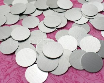 """50 Pk - 7/8"""" Aluminum Stamping Blanks - 21 Gauge (.028"""") - 7/8 Inch Diameter - Raw Brushed Finish - No Hole - Round Circle Disc Tags Blank"""
