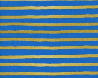 Sale!!- Cheshire Stripe in Cobalt (metallic)- Wonderland by Rifle Paper Co for Cotton and Steel