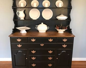 Gorgeous China Hutch Buffet Cabinet, Vintage, Painted, Black, Distressed