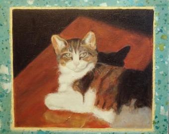 cat painting, original painting, oil painting, Original oil painting, Original, art, cat, colorful, AdornDC