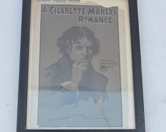 Smoker's Gift of A Cigarette Makers Romance Framed Opera House Playbill