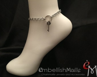 Key Holder jewelry, Discrete Dominant anklet / bracelet, Owner anklet, Mistress ankle bracelet, Master key bracelet, Key ring bracelet.