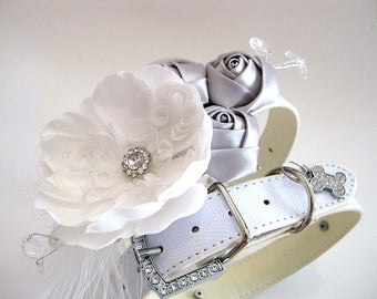 """Flower Dog collar   The """"Moonlight White""""   white wedding   with matching """"I Do Too"""" leash option   silver wedding dog collar"""