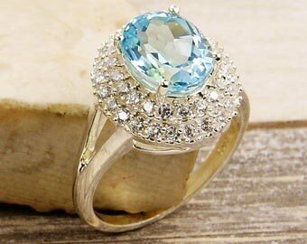Blue Topaz Ring CZ Ring & .925 Sterling Silver Ring Size 7.25 ,  V611 The Silver Plaza