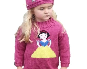 Aran Knitting pattern for girls, Princess sweater and crown, Snow White Sweater, Girls knitted sweater, Fairytale sweater, Snow White Jumper