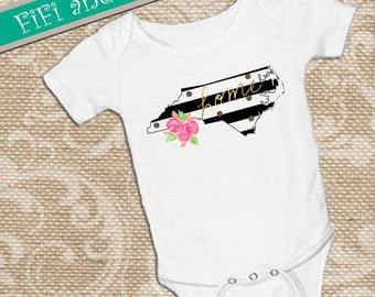 North Carolina home, Black & White Strip faux gold glitter dots, pink watercolor flower accent,  White onsie Snap bottom all-in-one bodysuit