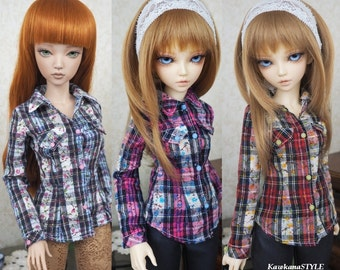 Kawkana - Checkered shirt with flowers, Western Style, blouse for MSD, MNF, Jid other 1/4 dollfie - choes your color