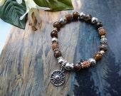 Sundance hand beaded gemstone rustic bracelet