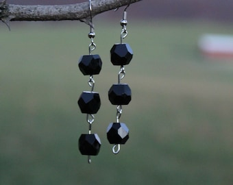 Triple drop black dangle earrings with silver accents (FREE SHIPPING!)