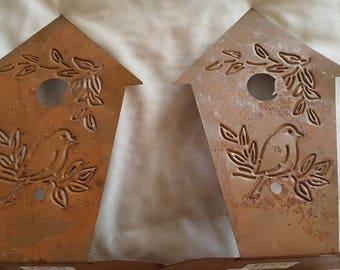 Vintage Rusty Metal BirdHouse Book Ends