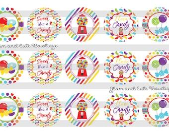 """Bubblegum Machine I love Candy INSTANT DOWNLOAD Bottle Cap Images 4x6 sheet 1"""" circles"""