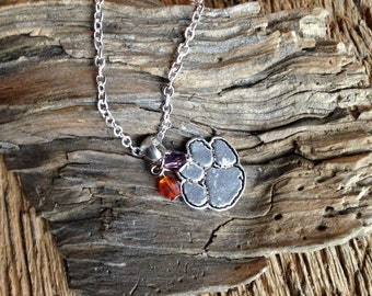 Clemson Tigers silver tiger paw with purple and orange crystal beads necklace: Clemson silver necklace with purple and orange Clemson paw