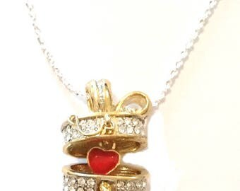 Sterling Silver Necklace with 14 carat gold Gilded Basket Pendant with CZ