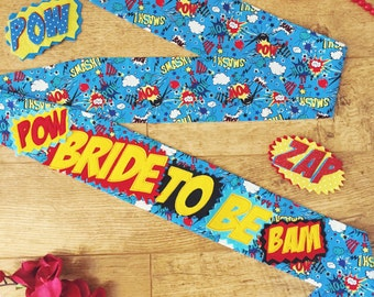 Superhero hen sash, comic book bride to be, superhero hen party sash, superhero bachelorette sash