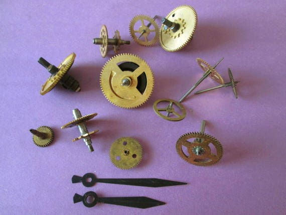 12 Assorted Antique Solid Brass & Metal Clock Parts for Your Clock Projects, Steampunk Art, Altered Art