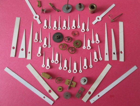 Nice Selection of Small Vintage Clock Parts + White Solid Brass & Copper Clock Hands for your Clock Projects Steampunk Art, Jewelry Making