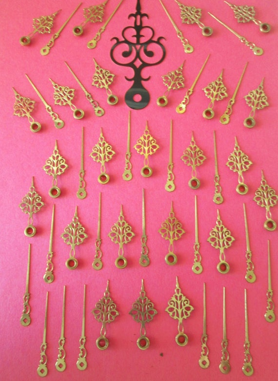 "24 Pairs of Antique Solid Brass Fancy Clock Hands 1 5/8"" and 2 1/8"" - Make Clocks - Jewelry - Steampunk Art - Crafts & Etc....."