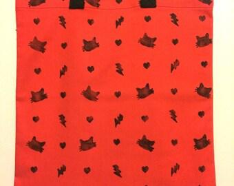 Kitty Hand Printed Tote Bag - Fuschia/Coral