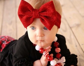 Baby headbands, valentines headband, red headband, flower headband, christmas photo prop, baby shower gift, holiday bows, red bows