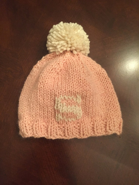 Hand-Knit letter hat with pom pom