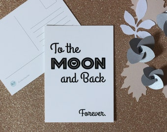 "Map postcard ""To the Moon and Back"""