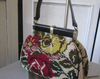 "1960s Floral Pattern Carpet Handbag with Black Leather Trim by ""Jana"""