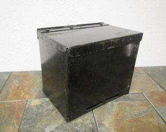 vintage Old Black Metal Box, Toolbox, Tractor Toolbox. Farm Equipment toolbox, machinery toolbox
