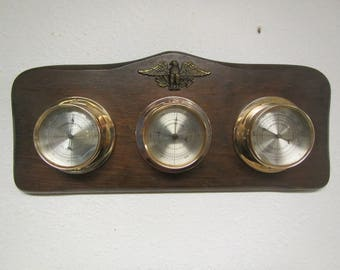 Wall Weather Station , Springfield Instrument Thermometer, Barometer and Humidity Meter, Metal Eagle * 1970s