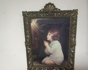 "vintage Young Girl Praying Print framed in an Ornate Antique Brass Frame with Convex Glass , Bubble glass, 15"" by 21"", made in Italy"