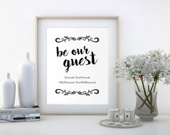Wifi Password Sign, Wifi Sign Printable, Be Our Guest Sign, Guest Room Decor, Wall Print, Digital Download, Customized Print