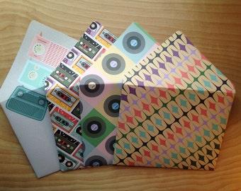 Handmade A7 Envelope Set, Retro Music, Stationery