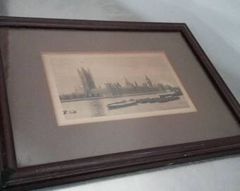 Vintage Photographicb Print of Houses of Parliament / Barges on Thames Frame 25 x 19 cm