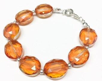 Iridescent Orange Glass Bracelet