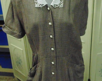 "1940 Brown and White Checked Dress Styled by Lynbrook, Bust 48""."