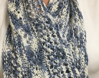 Blue and White Hand Knit Cowl