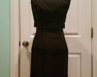 VINTAGE 50's Wiggle Dress with Fringe