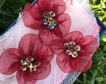 5 pcs red organza  Flower ,50 mm