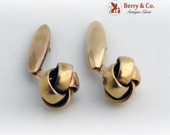 Vintage Wide Knot Cufflinks 14K Yellow Gold 1930