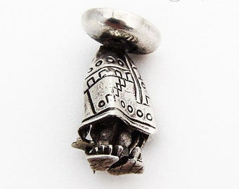 Stylized Mexican Figure Brooch Pin Sterling Silver