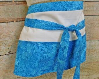 Blue and White Utility Apron - Teachers Apron - Vendor Apron - Waitress Apron - Half Apron - Bartender Apron - Craft Apron - Bridesmaid Gift